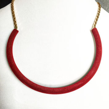 Reagan Gold Necklace - Brown or Maroon Velvet