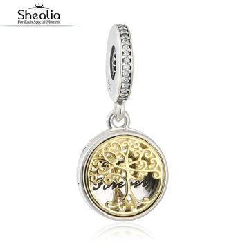 SHEALIA Two Tone Family Tree Roots Locket Hanging Charms 925 Sterling Silver Family Forever Dangle Beads For Jewelry Making 2016