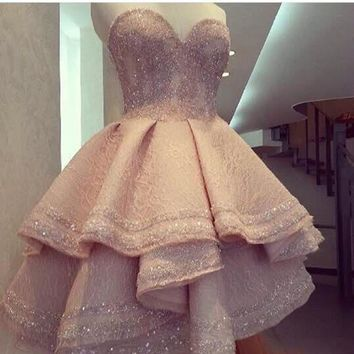 Elegant Pink Short Front Long Back Prom Dress High Quality Seweetheart Beaded Tiered Lace vestido de