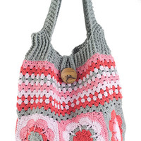 Colorful flower and striped crochet shoulder bag
