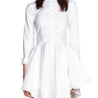 White Button-up Long-Sleeve Dress
