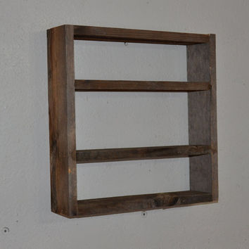 Simple barnwood wall shelf 15 by 15 brown and gray