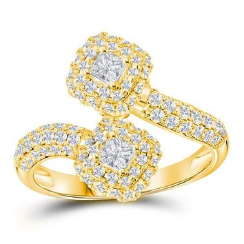 14kt Yellow Gold Women's Princess Diamond 2-stone Hearts Together Bypass Bridal Wedding Engagement Ring 1-1/2 Cttw - FREE Shipping (US/CAN)