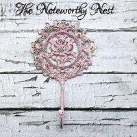 Wall hook // Pastel hook // Pink hook // Rose Hook // Cast Iron Hook // Nursery Hook // Shabby Chic Decor // Shabby Hook // Cottage decor