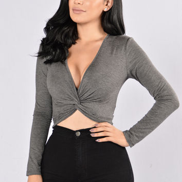 Knot Yours Top - Charcoal