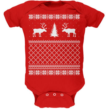 Reindeer Caribou Ugly Christmas Sweater Red Soft Baby One Piece
