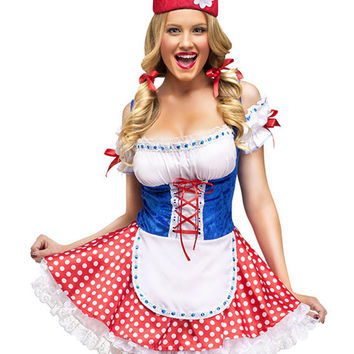 Off Shoulder Ruched Lace Up Gnome Costume