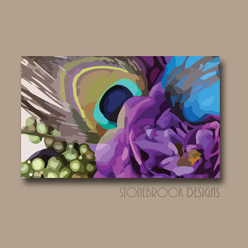 Peacock Wall Art CANVAS Purple Blue Turquoise Painting Vivid Colorful Artwork Large Image Wrap Floral Bouquet Decor Free Shipping