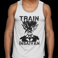 Work Out tank, Training top, Dragonball Z shirt, dragonballz tank, Men's Muscle Tank Top T-Shirt, fitness tank, exercise shirt, train insane