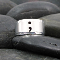 Semicolon Ring - One Size Adjustable Ring - Semicolon Project - Encourage, Love, Inspire - Mental Health Awareness - Suicide Prevention