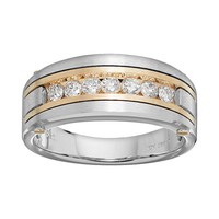 1/2 Carat T.W. Diamond 10k Gold Two Tone Wedding Ring - Men (White)