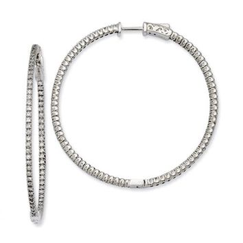 Sterling Silver CZ Round Hoop Earrings
