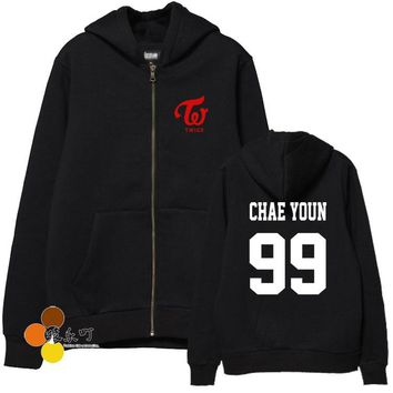 2016 new arrival kpop new idol twice member name printing fleece hoodies autumn winter zipper jackets for men women