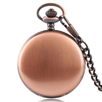 Luxury Rose Gold Smooth Casual Quartz Pocket Watch Simple Pendant With Necklace For Men Women Gift Reloj De Bolsillo