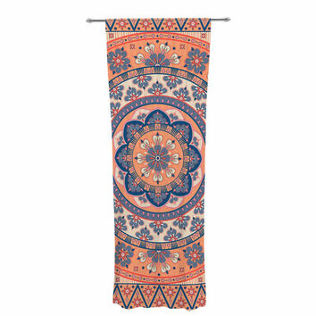 "Nandita Singh ""Mandala Magic"" Beige Coral Digital Ethnic Decorative Sheer Curtain"