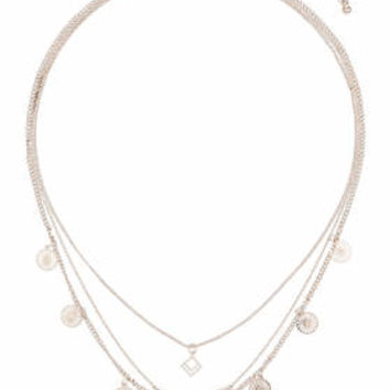 Filigree And Disc Multirow Necklace - Rose Gold