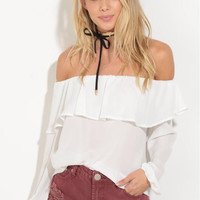White Off the Shoulder Ruffles Blouse