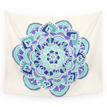 Society6 Royal Blue Teal Mint Purple Mandala Flow Wall Tapestry