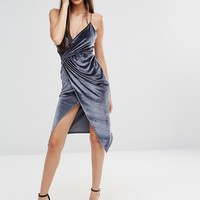 Boohoo Velvet Strappy Wrap Dress at asos.com