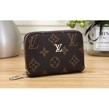 LV Fashion Zipper Printed Wallet LV pattern coffee