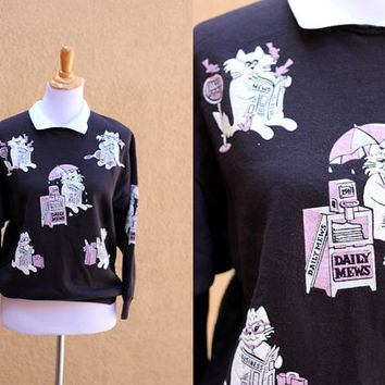 Vtg 80's Cats Reading Newspapers Cute Jumper Sweatshirt Black Medium Women's Size 8 Collar Men's Small puffy paint vintage