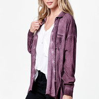 LA Hearts Oil Wash Tunic Button-Down Shirt at PacSun.com