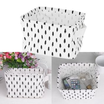 "Square Small Foldable Linen & Cotton Storage Basket Organizer Tree Pattern for Jewelry Stationery Toy Key Book(20*12.5*16.5cm/7.9*4.9*6.5"")"