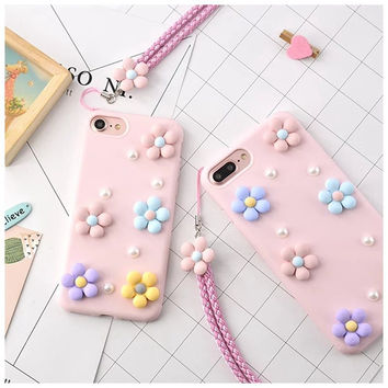 Korean Sweet Sunflower Phone Case Soft Silicone Rubber Case for Iphone 6 6s 6plus Lanyard Daisy Cover Case for Iphone 7 7plus