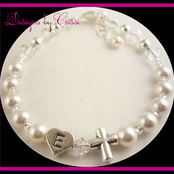 Pearl Cross Initial Bracelet Crystal, chose colors girls, baby, toddler, white pink cream christening baptism and baby gift, first communion
