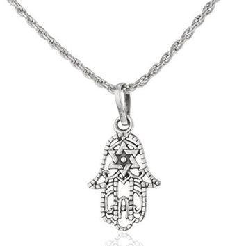 925 Sterling Silver Hamsa & Star of David Pendant with an 18 Inch Rope Chain Necklace