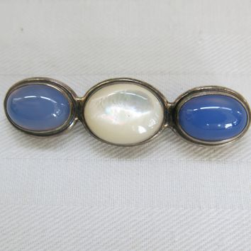 Vintage Sterling Blue Chalcedony Mother of Pearl Pin Great Falls Metal Works 1987