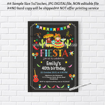 Mexican guy and girl Fiesta Birthday invitation, Birthday Invitation for any age, anniversary Colorful Festive birthday - card 676