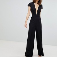 ASOS TALL Plunge Neck Jumpsuit with Wide Leg and Open Back at asos.com