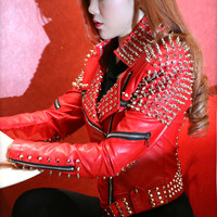 Red Punk Rivets Studded Motorcycle Spiked Leather Jacket
