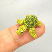 Miniature Green Sea Turtle - Amigurumi Crochet Miniature Tiny Stuffed Animal - Made To Order