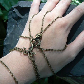 Gothic slave bracelet spider chain skull serpents rocker cosplay Harry Potter inspired larp belly dancer Halloween Tribal fusion  gypsy