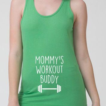 Mommy's Workout Buddy Tank Workout Clothes American Apparel Pregnancy Gifts Fitness Clothing Gym Outfits Fitness Tank Ladies Tank - SA282