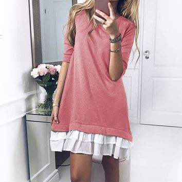 2017 Fall Winter Sweet Dresses Hoodies Stitching Style Warm Long Sleeves Short Pull Tunic Clothing WS4978K