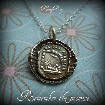 Remember the Promise Rainbow Wax Seal Necklace by PlumAndPoseyInc