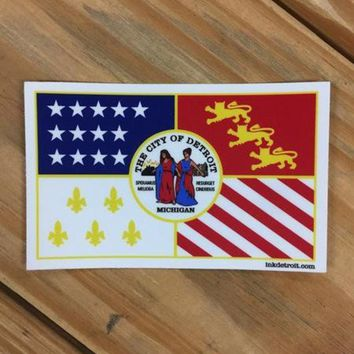 DCCKG8Q Ink Detroit Detroit City Flag Vinyl Die Cut Bumper Sticker