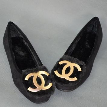 Chanel Slip-On Women Fashion Velvet Leather Flats Shoes