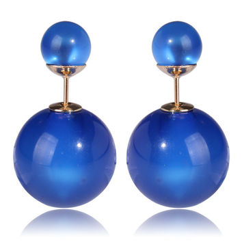 Gum Tee Tribal Earrings - Glass Royal Blue