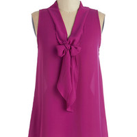 ModCloth Mid-length Sleeveless Strive to Thrive Top in Fuchsia