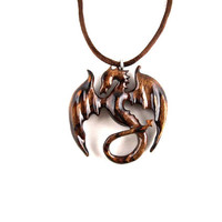 Dragon Necklace, Dragon Pendant, Dragon Jewelry, Wood Dragon Necklace, Wood Carved Dragon Necklace, Wood Statement Necklace, Fantasy Jewelry