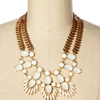 Ivory Gemstone Statement Necklace