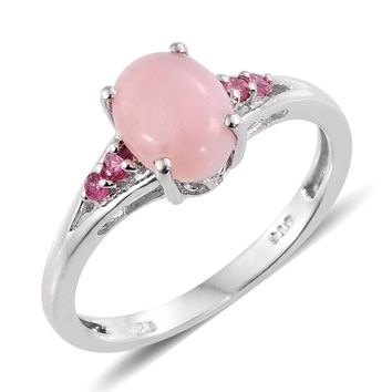 Peruvian Pink Opal, Mahenge Pink Spinel Platinum Over Sterling Silver Ring TGW 1.45 cts
