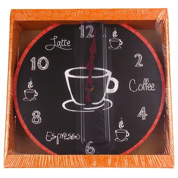 "Coffee Clock Latte Espresso Wall Kitchen Decor G Fun Sassy 10"" Round Battery"