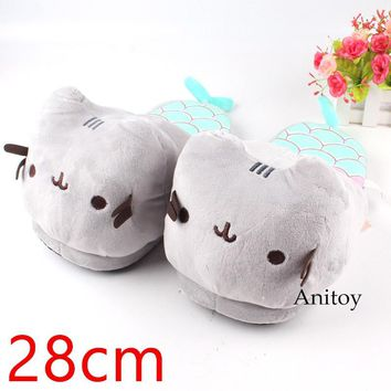 Mermaid Cat Cartoon Cat Slippers Plush Shoes Home House Winter Stuffed Slippers for Children Women Men 3 Colors 28cm