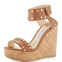 JIMMY CHOO Nelly Studded Cork Wedge Sandal Size 41
