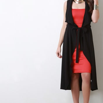 Draped Self-Tie Sleeveless Cardigan